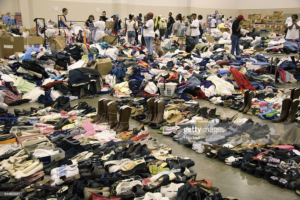 In this handout from the Federal Emergency Managment Agency (FEMA), Stockpiles of clothing, food, toothpaste, shoes, diapers and hundreds of other items are sorted in the Reliance Center for distribution to families who are victims of hurricane Katrina bussed from New Orleans September 2, 2005 in Houston, Texas. Thousands of people are still reportedly trapped in the city, awaiting relocation.