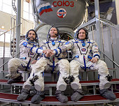In this handout from the In this handout from National Aeronautics and Space Administration or NASA Expedition 43 Russian cosmonaut Mikhail Kornienko...
