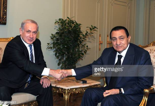 In this handout from the Israeli Govermental Press Office Prime Minister Benjamin Netanyahu meets with Egyptian President Hosni Mubarak on July 18...