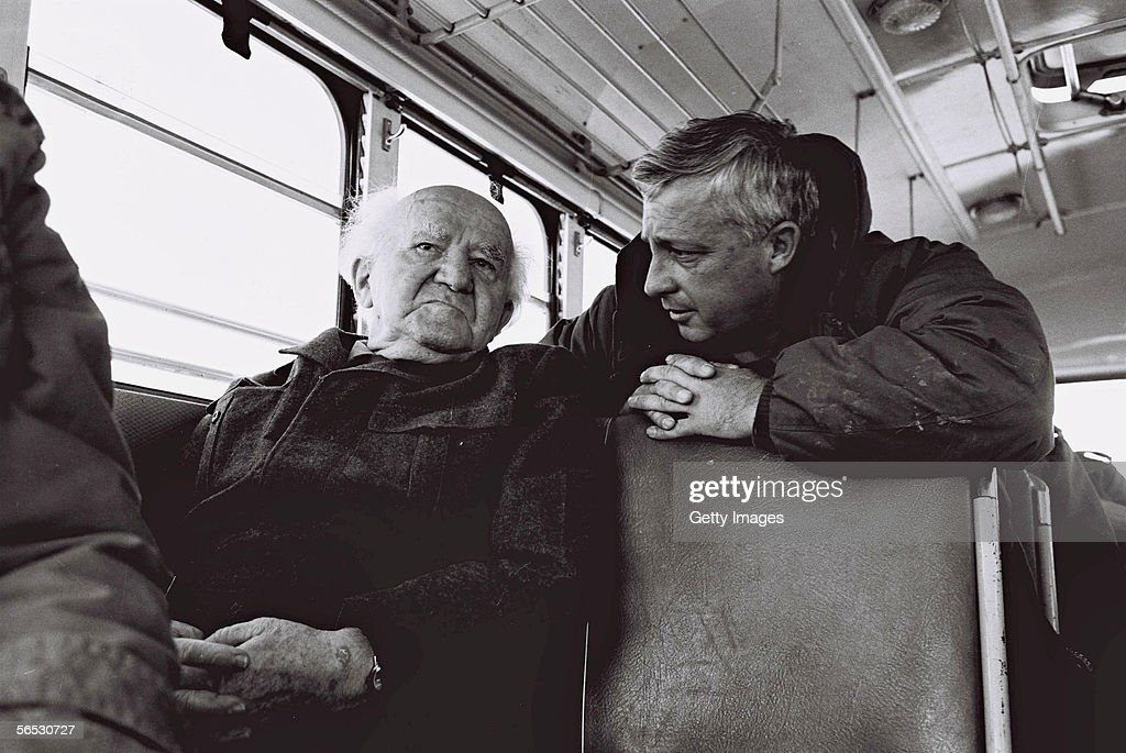 In this handout from the Israeli Governmental Press Office Southern Command General Ariel Sharon chats with former Prime Minister David Ben Gurion...