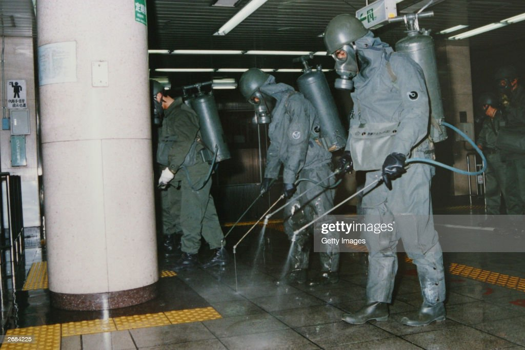 In this handout from the Japanese Defence Agency, personnel of the Self Defence Agency are seen clearing Sarin off platforms after the 1995 Sarin gas attack on Tokyo's subways. Defence arguments are coming to a close in the seven and a half year trial of Shoko Asahara, real name Chizuo Matsumoto. A verdict is expected in February next year and if found guilty Asahara faces the death penalty. Asahara stands accused of masterminding the 1995 Tokyo Sarin attack, in which 12 people died and a further 5,000 were poisoned.