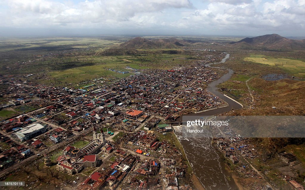 In this handout from the Malacanang Photo Bureau an aerial view of buildings destroyed in the aftermath of Typhoon Haiyan on November 10 2013 over...