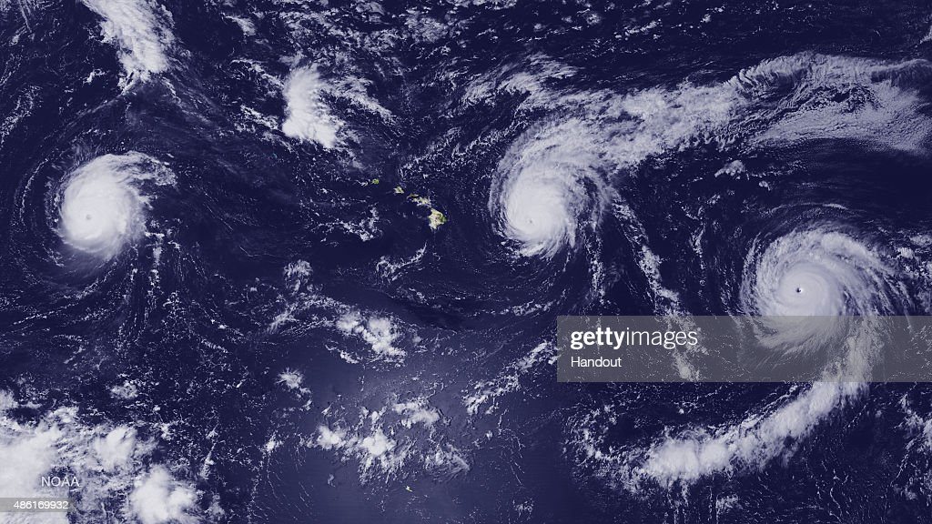 In this handout from the National Oceanic and Atmospheric Administration Hurricane Kilo Hurricane Ignacio and Hurricane Jimena churn August 31 2015...