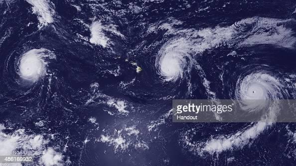 In this handout from the National Oceanic and Atmospheric Administration Hurricane Kilo Hurricane Ignacio and Hurricane Jimena churn August 31 2015...