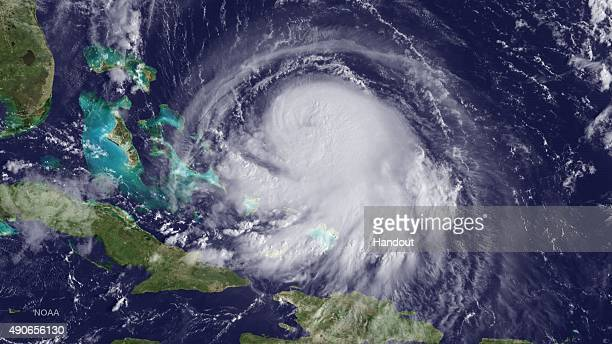In this handout from the National Oceanic and Atmospheric Administration Hurricane Joaquin is seen chruning in the Caribbean September 30 2015...