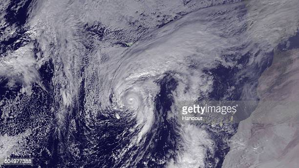 In this handout from the National Oceanic and Atmospheric Administration Hurricane Alex is seen in the Atlantic after being upgraded from a storm on...