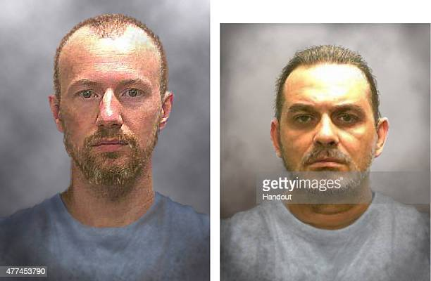 In this handout from the New York State Police progression images of escaped inmates David Sweat and Richard Matt are seen Sweat and fellow inmate...