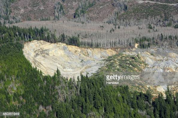 In this handout from the Office of the Governor of Washington Jay Inslee an aerial view of a deadly mudslide is seen on March 23 2014 between...