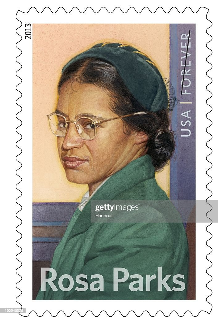 In this handout from the United States Postal Service, the new Rosa Parks commemorative stamp issued by the U.S. Postal Service honoring civil rights icon is seen. Today would have been Rosa Park's 100th birthday.