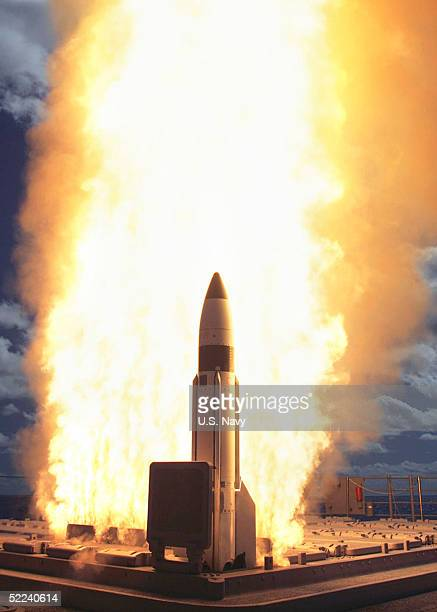 In this handout from the US Navy Standard Missile3 is launched February 24 in Kauai Hawaii The event which occurred some 100 miles from the island of...