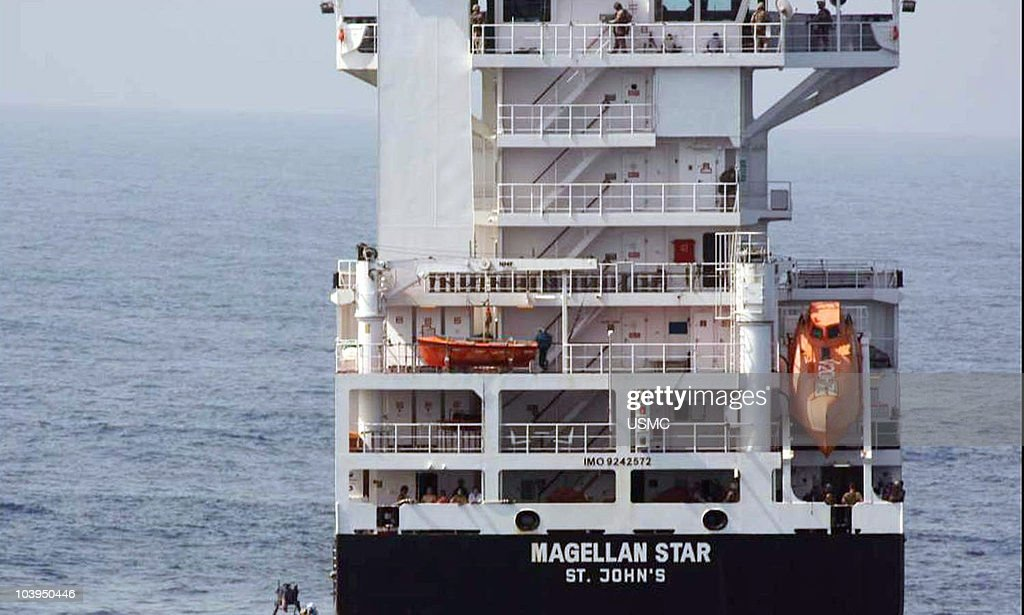 In this handout from the U.S. Navy, the U.S. Marine Corps conduct a raid on the M/V Magellan Star after it was attacked and boarded by pirates September 9, 2010 in the Gulf of Aden. According to reports the U.S. Marines boarded the German owned ship after pirates had captured it on September 8, off the Somalia coast. It marks the first time that U.S. forces near Somalia have boarded a vessel taken by pirates.