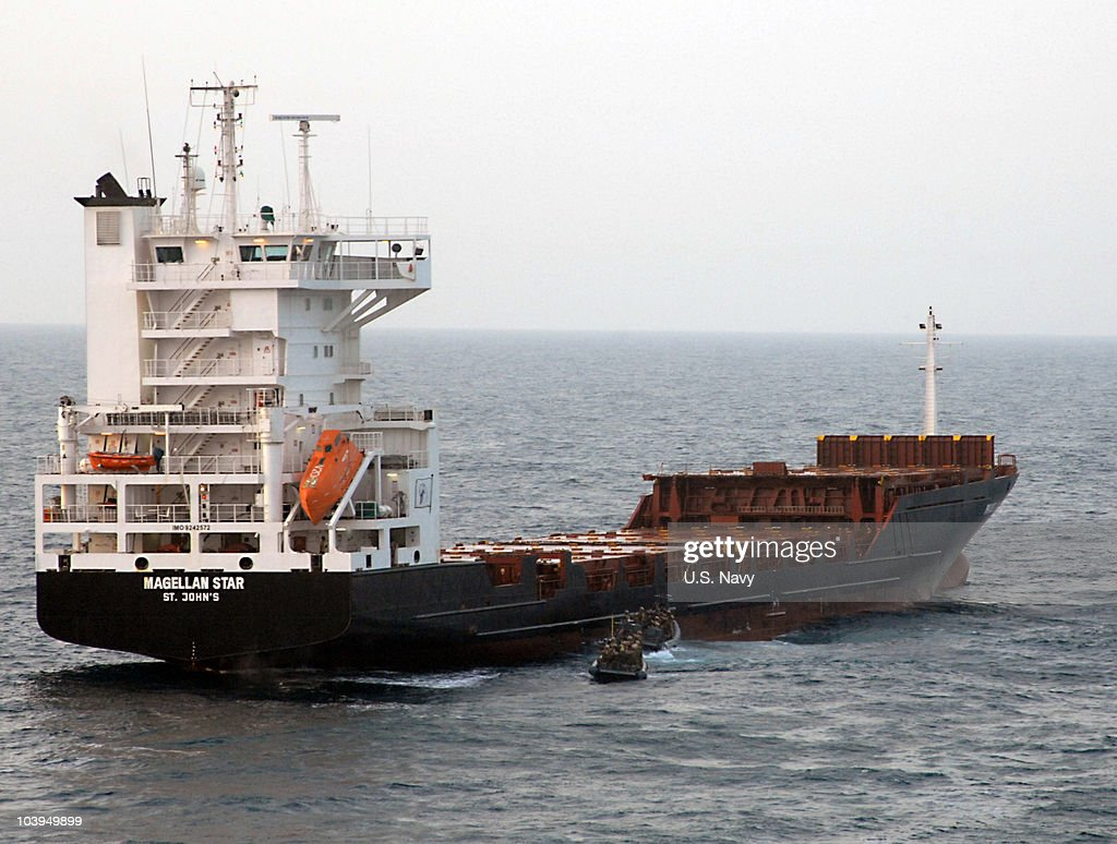In this handout from the U.S. Navy, U.S. Marine Corps approach the motor vessel Magellan Star during a boarding and seizure operation to retake the motor vehicle from suspected pirates September 9, 2010 in the Gulf of Aden. According to reports the U.S. Marines boarded the German owned ship after pirates had captured it on September 8, off the Somalia coast. It marks the first time that U.S. forces near Somalia have boarded a vessel taken by pirates.