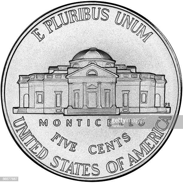 In this handout from the US treasury New US nickels designs are shown on display January 12 2006 in Washington DC The new nickel last of the Westward...