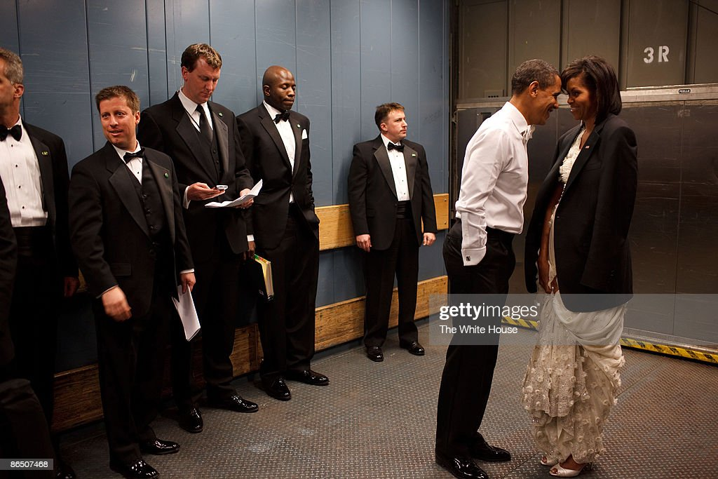 In this handout from the White House, U.S. President Barack Obama and first lady Michelle Obama together in a freight elevator at an Inaugural Ball, January 20, 2009 in Washington, DC.