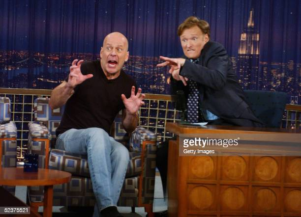 In this handout fron NBC Actor Bruce Willis and Host Conan O'Brien appear on 'Late Night with Conan O'Brien' March 10 2005 in New York City