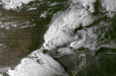 In this handout GOES East sattillte image provided by National Oceanic and Atmospheric Administration shows the storm system moments before spawning...