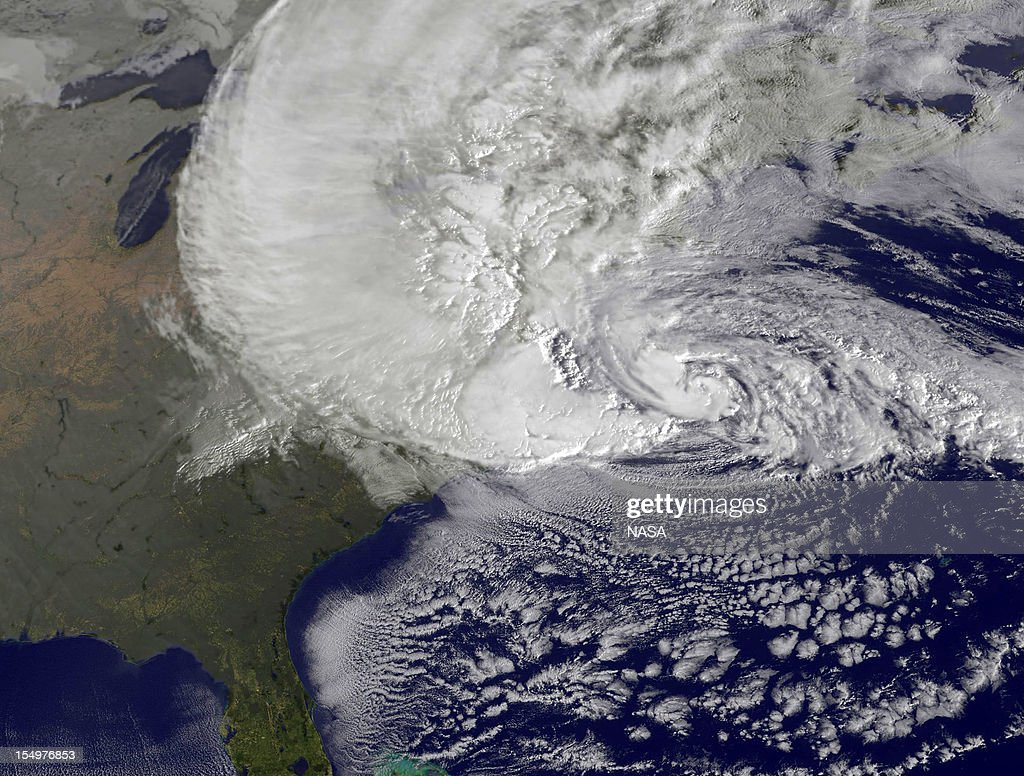 In this handout GOES satellite image provided by NASA, Hurricane Sandy, pictured at 1240 UTC, churns off the east coast on October 29, 2012 in the Atlantic Ocean. Sandy, which has already claimed over 50 lives in the Caribbean is predicted to bring heavy winds and floodwaters to the mid-Atlantic region.
