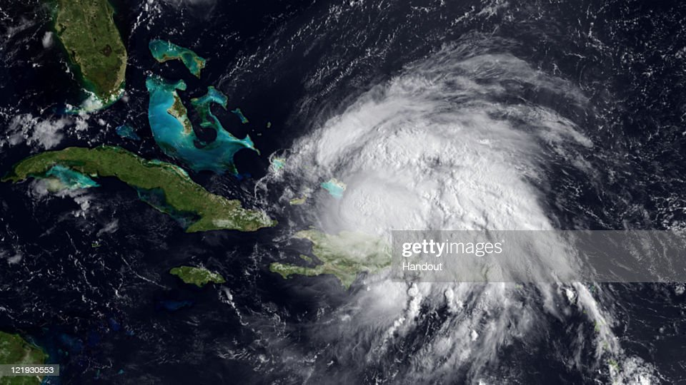 In this handout GOES satellite image provided by the National Oceanic and Atmospheric Administration (NOAA), Hurricane Irene, with sustained winds of 100 mph, becomes a Category 2 hurricane August 23, 2011 in the Caribbean Sea. The storm is predicted to strengthen even more, possible into Category 3 in the next 36 hours.