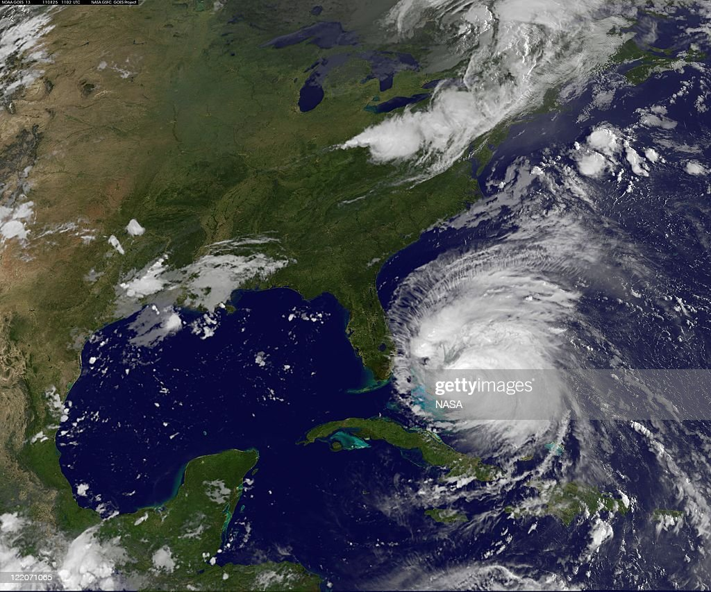 In this handout GOES-13 satellite image provided by the NASA, Hurricane Irene churns on August 25, 2011 in the Caribbean Sea. Irene, now a Category 3 storm with winds of 115 miles per hour, is projected to become Category 4 storm as it moves toward the eastern seaboard of the U.S.
