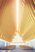 In this handout illustration provided by Christchurch Cathedral a view of the new cardboard cathedral designed by Japanese architect Shigeru Ban is...