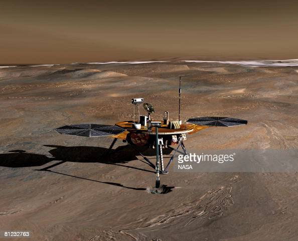In this handout illustration provided by NASA/JPL an artist's conception of the Phoenix Mars Lander on the Red Planet Phoenix is slated to land on...