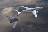 In this handout illustration provided by Northrop Grumman illustrates a KC30 Tanker fueling an airplane The Pentagon has reopened bidding on the...