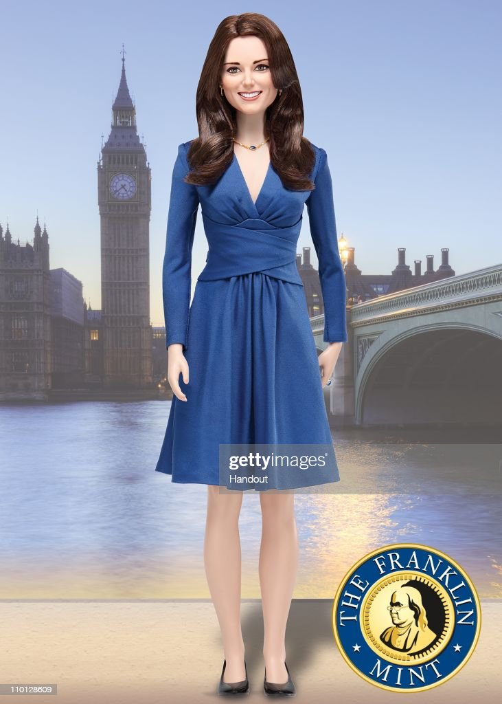 UNSPECIFIED - In this handout illustration provided by The Franklin Mint, The Franklin Mint's limited edition commemorative Kate Middleton 'Portrait of a Princess' doll is seen.
