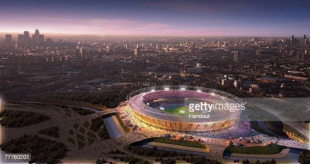 In this handout illustration provided by the Olympic Delivery Authority A CGI rendering of the GBP500m 80000 seat Olympic stadium is unveiled on...