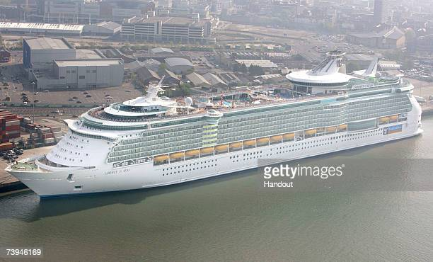 In this handout image an aerial view of world's largest ocean liner the 'Liberty of the Seas' shows it arriving at the Port of Southampton on April...