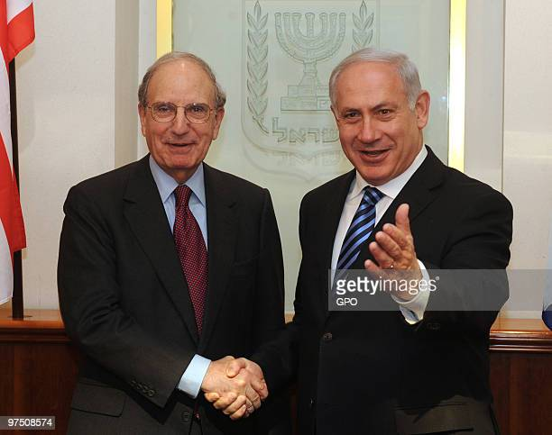 In this handout image from the Israeli Government Press Office Israeli Prime Minister Benjamin Netanyahu meets with American special envoy to the...