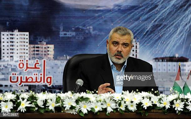 In this handout image from the Palestinian Prime Minister's Office Hamas chief in Gaza Ismail Haniyeh speaks during a televised address from an...