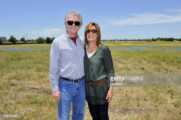 In this handout image Patrick Duffy and Linda Gray are seen as TNT's Dallas cast celebrates JetBlue's new service into DFW with a 5 acre living...