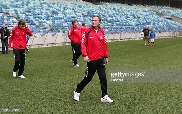 In this handout image Phil Thompson looks on during the Liverpool FC Legends training session at Moses Mabhida Stadium on November 15 2013 in Durban...