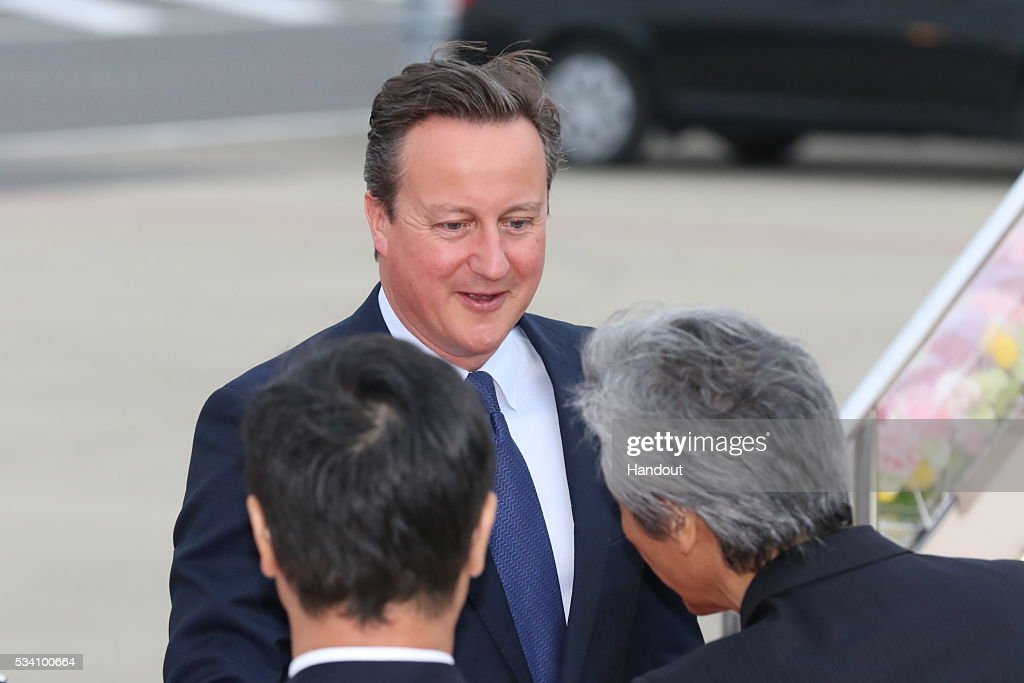 In this handout image provide by Foreign Ministry of Japan, Britain's Prime Minister <a gi-track='captionPersonalityLinkClicked' href=/galleries/search?phrase=David+Cameron+-+Politico&family=editorial&specificpeople=227076 ng-click='$event.stopPropagation()'>David Cameron</a> is seen upon arrival at the Chubu Centrair International Airport on May 25, 2016 in Nagoya, Japan. In the two-day summit held on May 26 and 27, the G7 leaders are scheduled to discuss the pressing global issues including counter-terrorism, energy policy, and sustainable development.