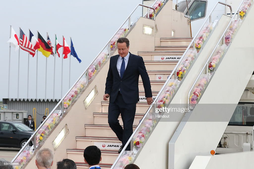 In this handout image provide by Foreign Ministry of Japan, Britain's Prime Minister <a gi-track='captionPersonalityLinkClicked' href=/galleries/search?phrase=David+Cameron+-+Politician&family=editorial&specificpeople=227076 ng-click='$event.stopPropagation()'>David Cameron</a> is seen upon arrival at the Chubu Centrair International Airport on May 25, 2016 in Nagoya, Japan. In the two-day summit held on May 26 and 27, the G7 leaders are scheduled to discuss the pressing global issues including counter-terrorism, energy policy, and sustainable development.