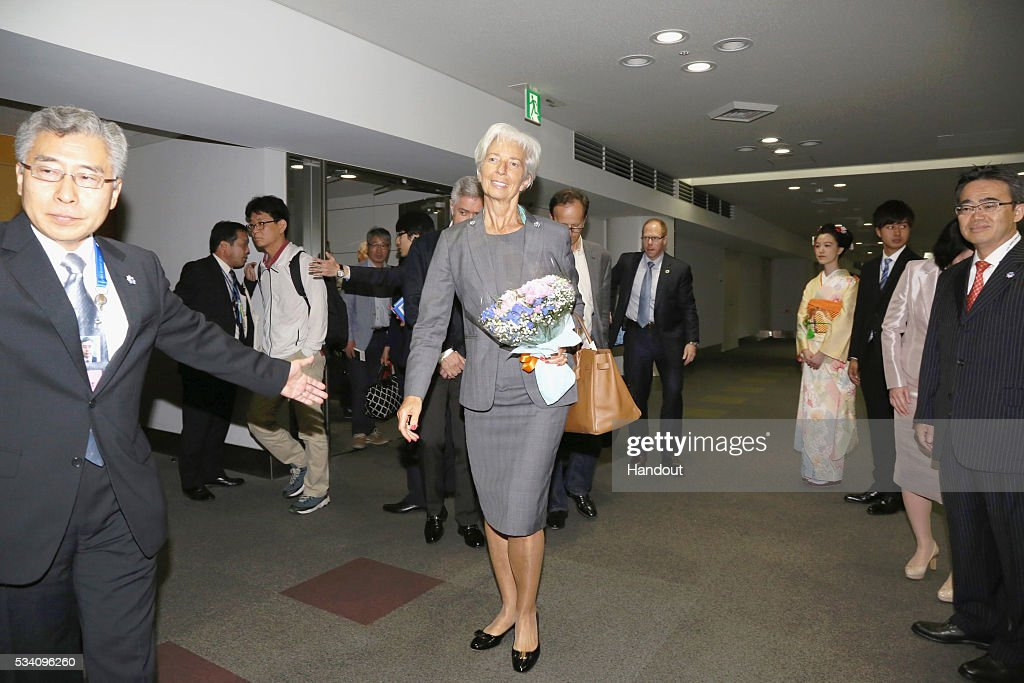 In this handout image provide by Foreign Ministry of Japan, <a gi-track='captionPersonalityLinkClicked' href=/galleries/search?phrase=Christine+Lagarde&family=editorial&specificpeople=566337 ng-click='$event.stopPropagation()'>Christine Lagarde</a> (C), the managing director of International Monetary Fund, is seen upon arrival ahead of the G7 Japan 2016 at the Chubu Centrair International Airport on May 25, 2016 in Nagoya, Japan. In the two-day summit held on May 26 and 27, the G7 leaders are scheduled to discuss the pressing global issues including counter-terrorism, energy policy, and sustainable development.