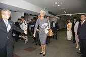 In this handout image provide by Foreign Ministry of Japan Christine Lagarde the managing director of International Monetary Fund is seen upon...