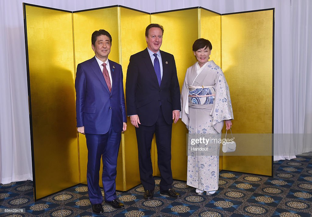 In this handout image provide by Foreign Ministry of Japan, Japanese Prime Minister <a gi-track='captionPersonalityLinkClicked' href=/galleries/search?phrase=Shinzo+Abe&family=editorial&specificpeople=559017 ng-click='$event.stopPropagation()'>Shinzo Abe</a> (L), British Prime Minister <a gi-track='captionPersonalityLinkClicked' href=/galleries/search?phrase=David+Cameron+-+Politicus&family=editorial&specificpeople=227076 ng-click='$event.stopPropagation()'>David Cameron</a> (C) and <a gi-track='captionPersonalityLinkClicked' href=/galleries/search?phrase=Akie+Abe&family=editorial&specificpeople=2042808 ng-click='$event.stopPropagation()'>Akie Abe</a> (R) attend the cocktail event during the G7 Japan 2016 Ise-Shima summit at the Shima Kanko Hotel on May 26, 2016 in Kashikojima, Japan. In the two-day summit, the G7 leaders are scheduled to discuss the pressing global issues including counter-terrorism, energy policy, and sustainable development.