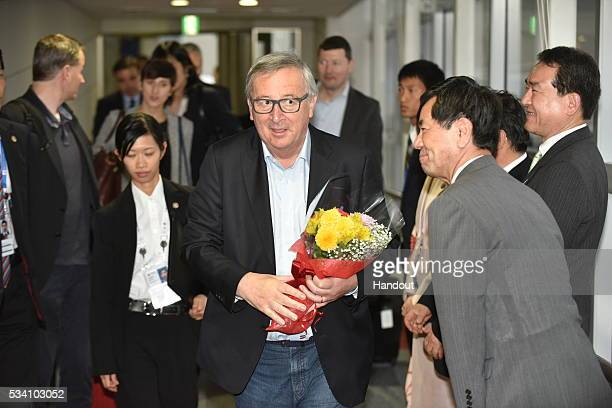 In this handout image provide by Foreign Ministry of Japan President Of European Commission JeanClaude Juncker is seen upon arrival at the Chubu...