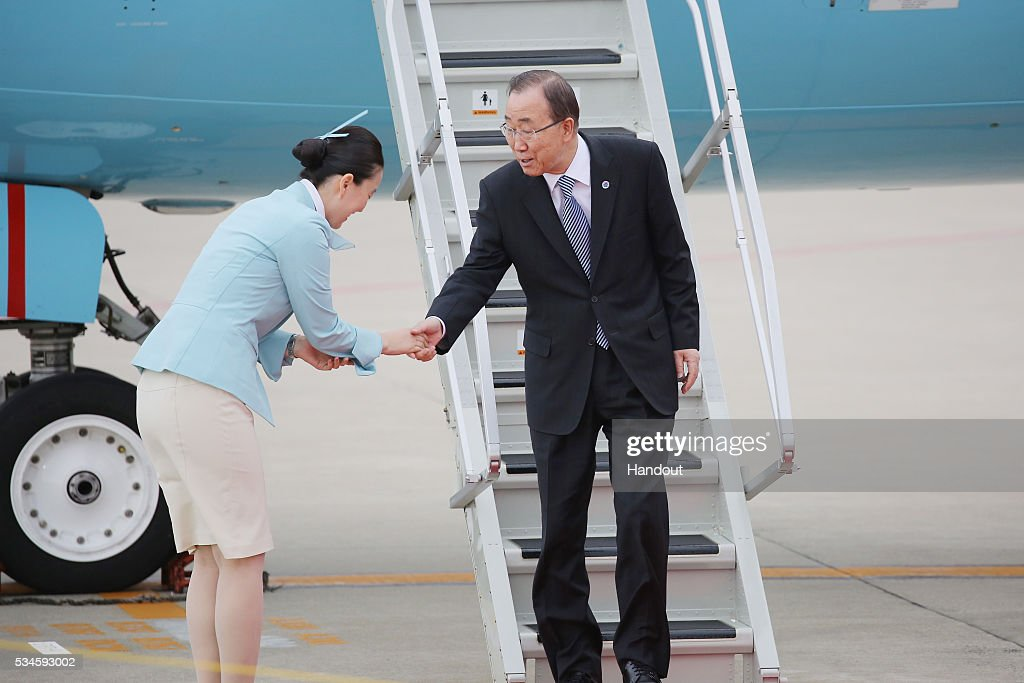 In this handout image provide by Foreign Ministry of Japan UN General Ban Kimoon is seen upon arrival at the Chubu Centrair International Airport on...