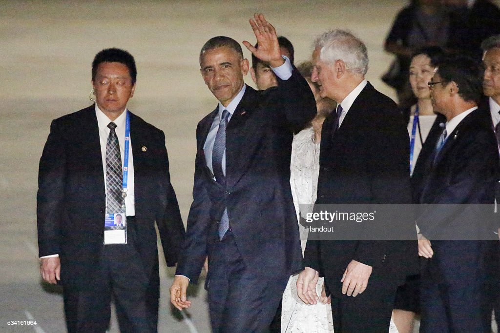 In this handout image provide by Foreign Ministry of Japan, U.S. President Barack Obama is seen upon arrival at the Chubu Centrair International Airport on May 25, 2016 in Nagoya, Japan. In the two-day summit held on May 26 and 27, the G7 leaders are scheduled to discuss the pressing global issues including counter-terrorism, energy policy, and sustainable development.