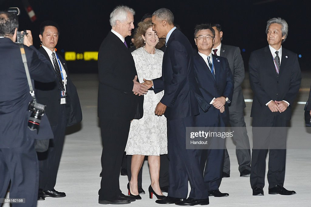 In this handout image provide by Foreign Ministry of Japan, U.S. President <a gi-track='captionPersonalityLinkClicked' href=/galleries/search?phrase=Barack+Obama&family=editorial&specificpeople=203260 ng-click='$event.stopPropagation()'>Barack Obama</a> (4th from right) is seen welcomed by U.S. Ambassador <a gi-track='captionPersonalityLinkClicked' href=/galleries/search?phrase=Caroline+Kennedy&family=editorial&specificpeople=93208 ng-click='$event.stopPropagation()'>Caroline Kennedy</a> (C) and her husband <a gi-track='captionPersonalityLinkClicked' href=/galleries/search?phrase=Ed+Schlossberg&family=editorial&specificpeople=963221 ng-click='$event.stopPropagation()'>Ed Schlossberg</a> (3rd from left) upon arrival at the Chubu Centrair International Airport on May 25, 2016 in Nagoya, Japan. In the two-day summit held on May 26 and 27, the G7 leaders are scheduled to discuss the pressing global issues including counter-terrorism, energy policy, and sustainable development.