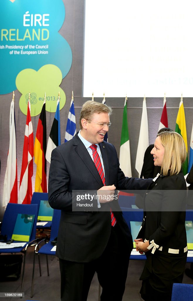In this handout image provided by 2013 Dept of the Taoiseach, Lucinda Creighton, Irish Minister for European Affairs (R) speaks with Stefan Fule, European Commissioner for Enlargement and European Neighbourhood Policy prior to the Informal Meeting of Ministers for European Affairs in Dublin Castle on January 21, 2013, in Dublin, Ireland.