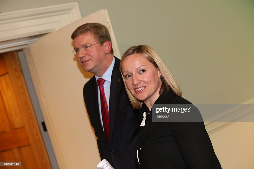 In this handout image provided by 2013 Dept of the Taoiseach, Stefan Fule Commissioner for Enlargement and European Neighborhood Policy and Lucinda Creighton Minister for European Affairs attend a Meeting of Ministers for European Affairs in Dublin Castle on January 21, 2013, in Dublin, Ireland. Ministers for European Affairs met to discuss greater democratic accountability in the EU.