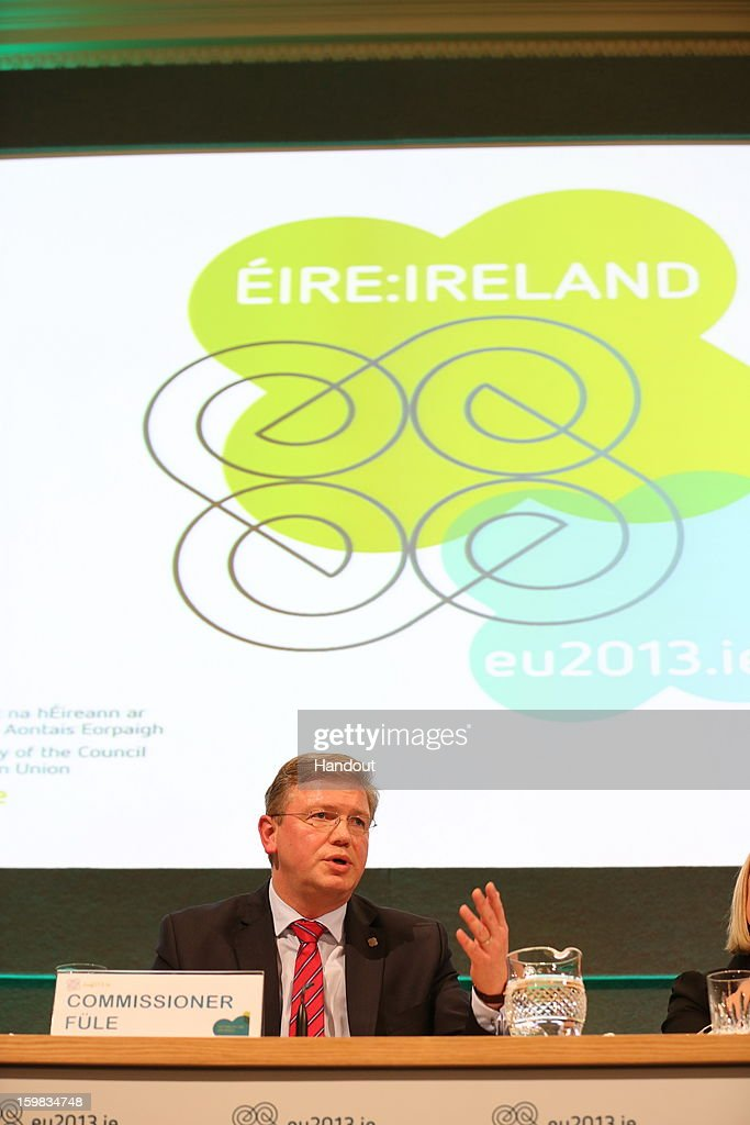In this handout image provided by 2013 Dept of the Taoiseach, Stefan Fule Commissioner for Enlargement and European Neighborhood Policy speaks during a Meeting of Ministers for European Affairs in Dublin Castle on January 21, 2013, in Dublin, Ireland. Ministers for European Affairs met to discuss greater democratic accountability in the EU.