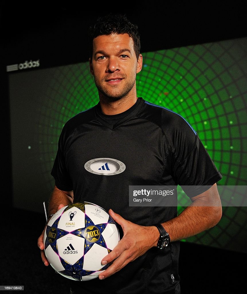 In this handout image provided by adidas, Michael Ballack poses on The Track at the adidas lab, London on May 24 in London, England. The Track uses real time data visualisation to test a player's game changing ability measuring speed, work rate and control over 15m.