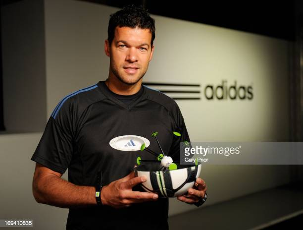 In this handout image provided by adidas Michael Ballack redefining the future of football with the Smart Ball at the adidas lab London on May 24 in...