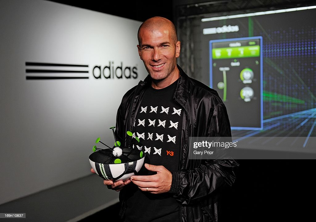 In this handout image provided by adidas, <a gi-track='captionPersonalityLinkClicked' href=/galleries/search?phrase=Zinedine+Zidane&family=editorial&specificpeople=172012 ng-click='$event.stopPropagation()'>Zinedine Zidane</a> redefining the future of football with the Smart Ball at the adidas lab, London on May 24 in London, England. The Smart Ball has sensors built inside that tracks its movement and feeds data such as speed, spin and accuracy directly to an app on your phone. It will be released in 2014.