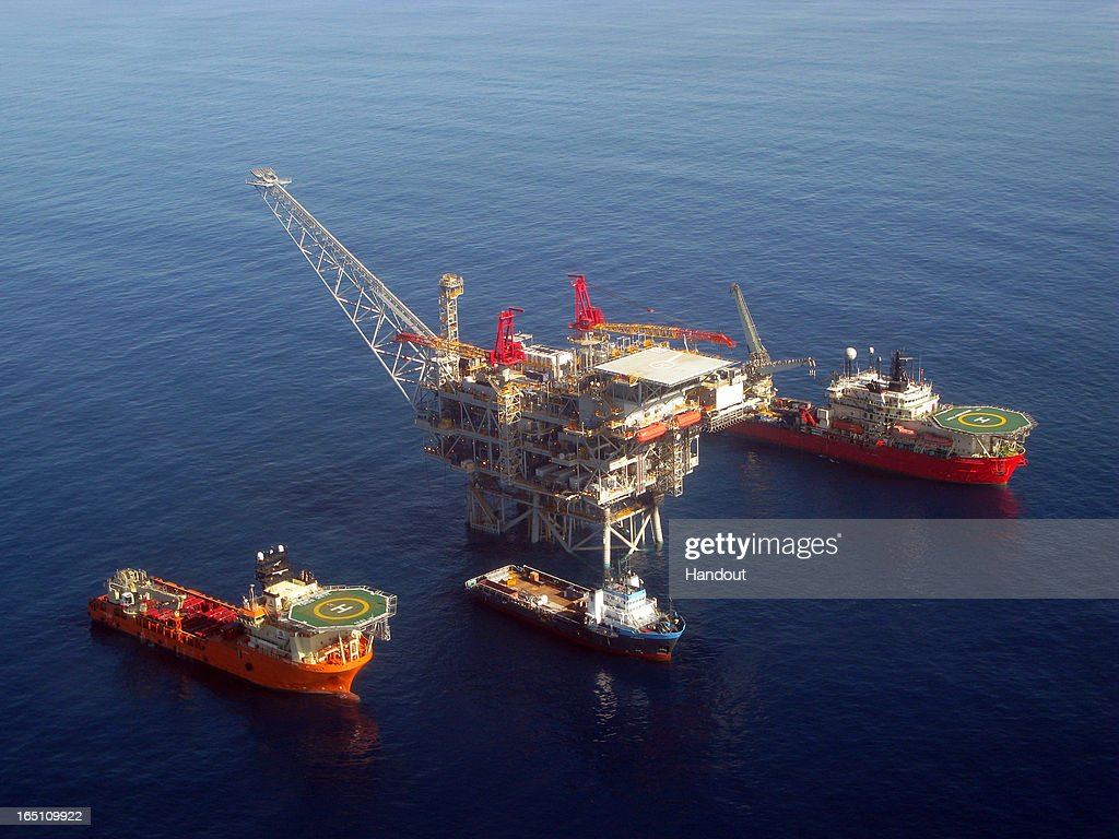 In this handout image provided by Albatross, The Tamar drilling natural gas production platform is seen some 25 kilometers West of the Ashkelon shore in February 2013 in Israel. The offshore Tamar drilling site which was originally dispatched from a shipyard in Texas at the end of last year is due to start producing natural gas next week. Over the past few years Israel has suffered from a shortage in natural gas, but with the new platform that weighs 34,000 tons and will be mainly operated by Israelis, the US company Nobel Energy which owns a 36% stake in Tamar, hopes to change Israel's energy situation as well as the economy as a whole.