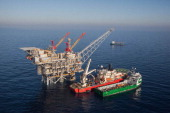 In this handout image provided by Albatross The Tamar drilling natural gas production platform is seen some 25 kilometers West of the Ashkelon shore...